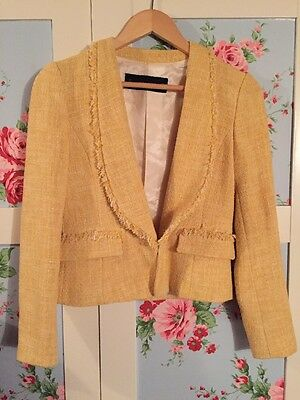 Zara Beautiful Lemon Ladies Textured Fitted  Jacket Size Small ❤️