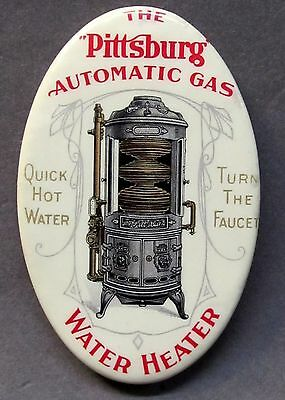circa 1910 PITTSBURG AUTOMATIC GAS WATER HEATER celluloid pocket mirror *