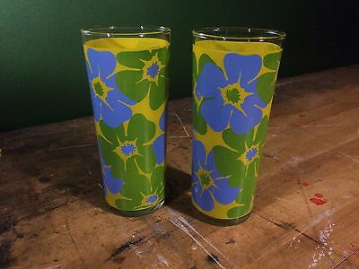 Vintage 1960s / 1970s Floral Highball Glasses High Ball Juice Water Glass