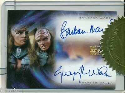 Star Trek Ds9 Dual Auto Barbara March Gwynyth Walsh Autograph Card Da2