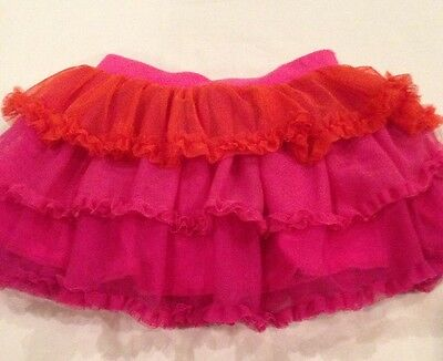 Flapdoodles Pink & Orange Tulle Girl's Skirt Size 2 2T