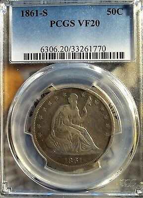 1861-S 50C Liberty Seated Half Dollar   PCGS VF-20