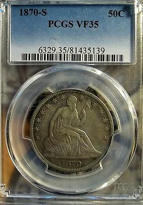 1870-S 50C Liberty Seated Half Dollar   PCGS VF-35