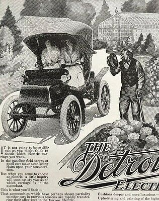 Vintage 1909 Detroit Electric Car Anderson Carriage Company Print Ad