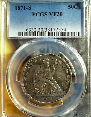 1871-S 50C Liberty Seated Half Dollar   PCGS VF-30