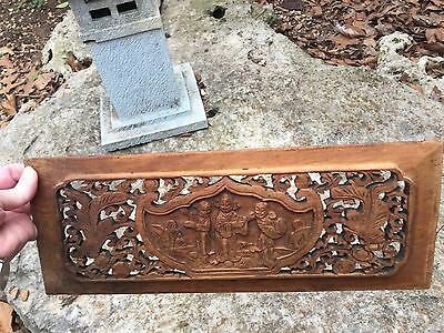 Vintage antique Chinese Oriental Carved Wood Panel