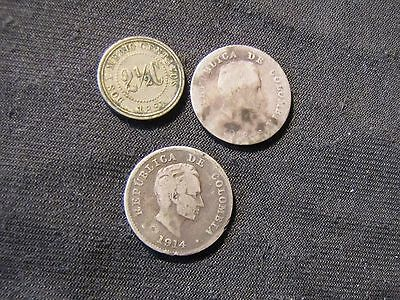 Lot of 3 Colombia Coins including Silver - 1881 2 1/2 Centavos, 1913 10, 1914 10