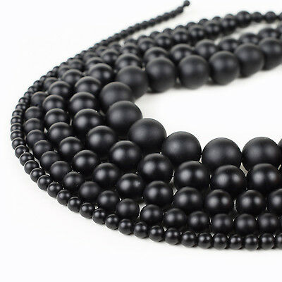 Matte Black Brazil Onyx Beads Natural Stone For Jewelry Making 4mm 6mm 8mm 10mm