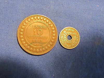 Lot of 2 Tunisia Coins - 1911-A 10 Centimes & 1920 5 Centimes