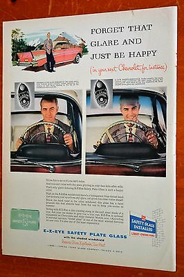 1957 Chevy Bel Air 4 Dr Ht For E-Z Eye Safety Plate Glass Ad - Vintage Chevrolet