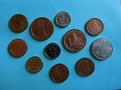 coins of Gibraltar, Jersey & Isle of Man - all 11 different coins of Europe