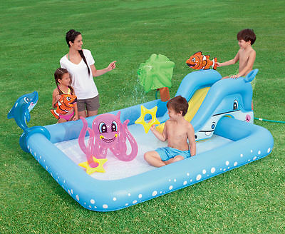 Inflatable Swimming Pool with Water Slide Sprayer Spray Kids Splash Backyard Toy