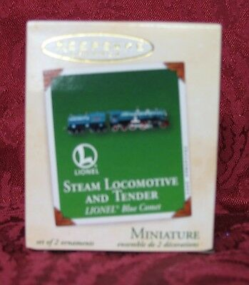 Hallmark 2003 Mini Ornament~Set Of 2~Steam Locomotive & Tender~Lionel Blue Comet