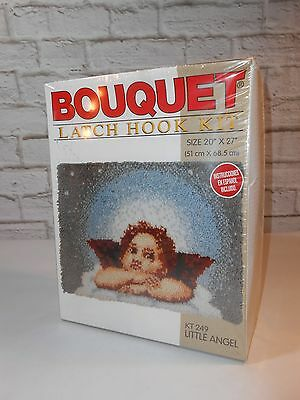 NOS Bouquet Latch Hook Kit Little Angel Rug Acrylic Wall Hanging KT249 NEW w Box
