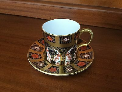 Royal Crown Derby Coffee Can & Saucer - Old Imari Gold Band - Perfect