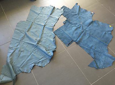 1.47kg Of Ocean Blue Soft Cowhide Upholstery Leather Offcuts