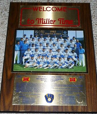 1982 Milwaukee Brewers American League Champions Team Photo Roster Stat Plaque