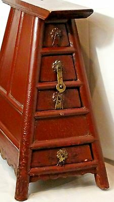 Antique Chinese Red Lacquered Wood 4 Drawer Barber Money  Stool With Top Slot