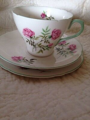 Vintage Shelley China Tea Cup Saucer And Plate Trio