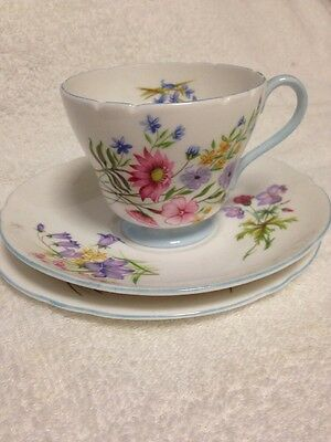 Shelley China Vintage Cup Saucer And Plate Trio