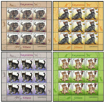 2017 Belarus, pets, cats, kittens, 4 sheets of 9 stamps, MNH