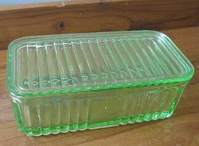 Vintage Large Green Depression Glass Butter/bread Container.