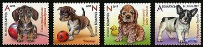 2017 Belarus, pets, dogs, puppies, set 4 stamps, MNH