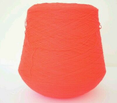 Neon red 2 ply acrylic yarn on the cone 1017g