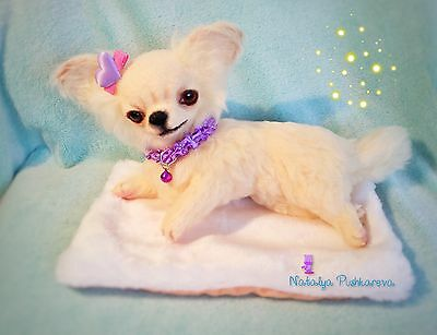 ��OOAK Needle felted  chihuahua  puppy / dog 7*11in Valentine's Day��