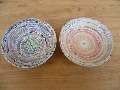 Lot Of 'x2' Hand Crafted Paper, Card Folded Plates, Dishes (C510)