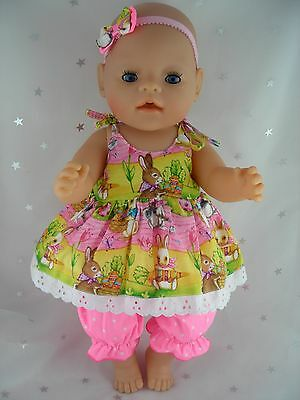 "Dolls clothes  for 17"" Baby Born  doll~EASTER BUNNY RABBIT STRAP DRESS~BLOOMERS"