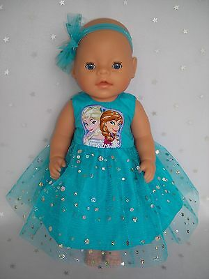 "Dolls clothes for 17"" Baby Born doll~FROZEN SISTERS AQUA SPARKLY DRESS~HAIRBOW"