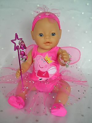 "Dolls clothes  for 17"" Baby Born  doll~PEPPA PIG FAIRY WING DRESS~ACCESSORIES"