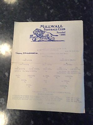 Millwall Reserves V Charlton Athletic Res 13.11.1962 1 Pager