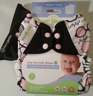 NIP Audrey pocket diaper with black tabs & sunglasses
