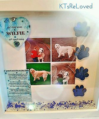 Pet memory memorial box frame photo personalised dog cat rabbit
