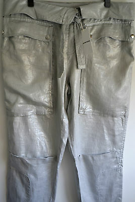COUNTRY ROAD~BNWT~New Womens Stylish Shimmer Silver Pants ~ RRP $159.95 ~ Sz 12