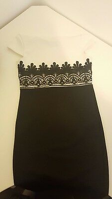 ladies black dress size 12 work dress noght out black and white