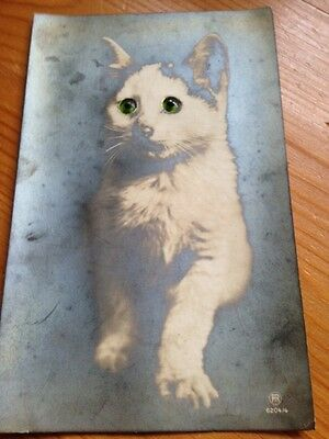 Novelty Postcard: CAT with Moving Green Eyes - Old Postcard by KHB 6204/4