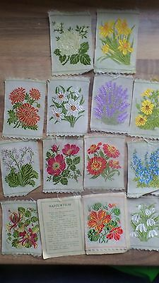 Kensitas flowers silk flower embroidered cigarette cards 7 x 5cms 13 cards