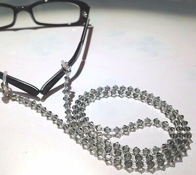 Black Bling Crystals Glasses Sunglasses Spectacles Eyeglass Chain Holder Cord