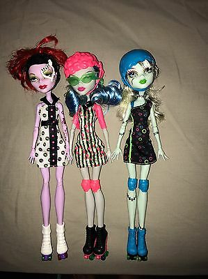 Monster High Dolls -Bulk Lot - Roller Skaters, Accessories Included