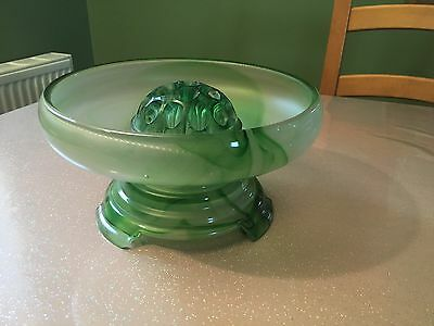 Davidson Cloud Glass Green Bowl Frog And Stand