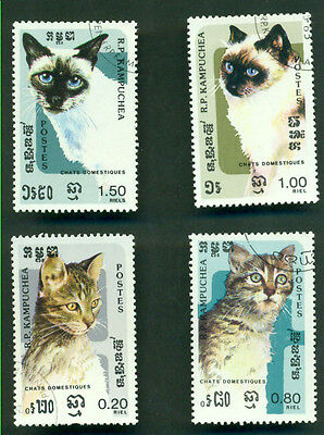 Cat Postage Stamps -Kampuchea - 4 X Domestic Cats