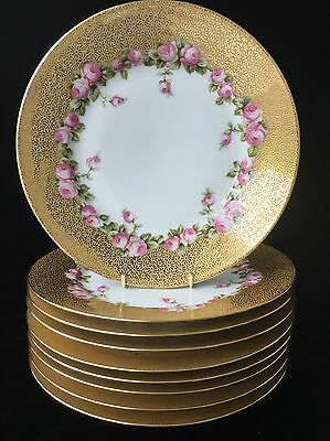 """(9) C Ahrenfeldt Limoges 9.375"""" Daisy Gold Encrusted Plates w/Pink Cabbage Roses"""