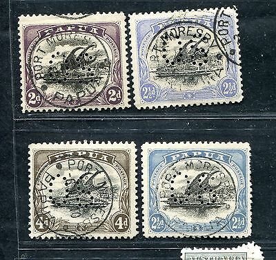 Papua New Guinea 1908-10 4 Official Lakatoi S Perfin Os To 4 Pence Used