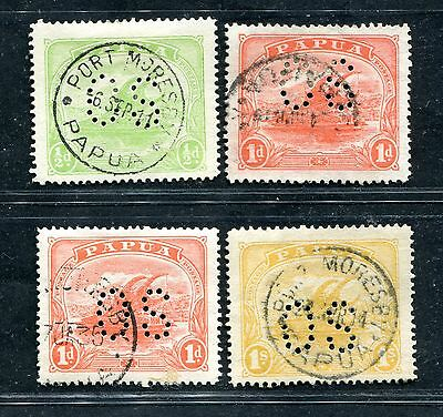 Papua New Guinea 1911-12 Official Os Perfin 4 Values Used