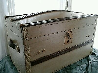1800s Antique Dome Top Steamer Trunk Wooden Chest Vintage Victorian RECLAIMED
