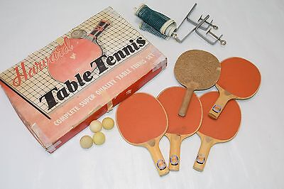 Vintage HARVARD TABLE TENNIS Set # 593 Ping Pong 4 Paddle Net Balls 3-Ply IN BOX