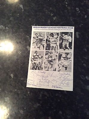 WIGAN RL ADVERTISING FLYER BRADFORD AND BINGLEY 1980s WITH COPY AUTOGRAPHS